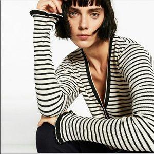 ZARA | Black & White Striped Knit Cardigan Sz. M